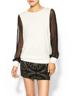 Haute Hippie | Pullover Silk Top in Swan | $195 Piperlime