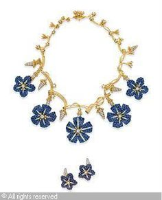 "Jean Schlumberger ""Blue Bonnet"" necklace and earrings"