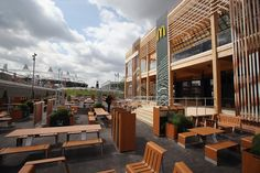 An exterior view of the world's largest McDonald's, 32,000-square-foot, double-decker McDonald's near Olympic Stadium in London for 2012.