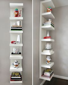 awesome use of the glossy white ikea lack shelf unit, priced at $49 and hung vertically here to give some height to the room and a nice minimal and clean storage option for books and other objets