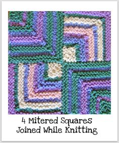 """Provided by Irene York – Knitting Basket & Karen Huntoon – What a Knit! This """"Knitting Technique"""" will teach you how to get started knitting mitered squares. Knitted Squares Pattern, Knitting Squares, Knitting Stiches, Crochet Stitches, Knit Crochet, Knitting Books, Crochet Patterns For Beginners, Stitch Patterns, Knitting Patterns"""