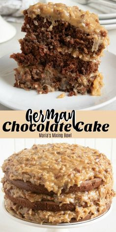 German Chocolate Cake Are you ready to make one of the most delicious and mouth-watering cake recipes, ever? This German Chocolate Cake will have you craving more before you even finish your first piece! German Chocolate Cake Frosting, Homemade German Chocolate Cake, Chocolate Cake Mix Recipes, Chocolate Cake From Scratch, Homemade Carrot Cake, Homemade Cake Recipes, Chocolate Chocolate, Homemade Snickers, Fudge Recipes