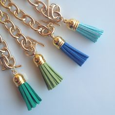 Tassel Bracelets - Kelly Green, Spring Green, Blue, and Aqua - Jcrew Inspired. $12.00, via Etsy.