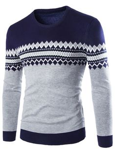 Crew Neck Color Block Geometric Knitwear