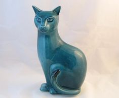 Poole Pottery Tall Blue Cat
