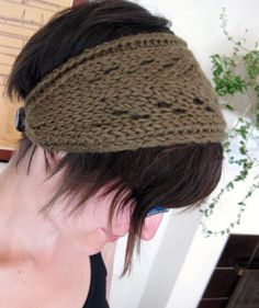 Lacefield Knit Headband with Button - Olive Green. $24.00, via Etsy.
