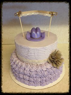 Vintage cowgirl themed cake.  Edible decorations.  Love this cake