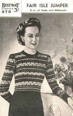 1940s Finella's Gay Fair Isle vintage knitting by SubversiveFemme