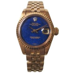 Rolex Yellow Gold Lapis Dial Datejust Automatic Wristwatch Ref. 6917   From a unique collection of vintage wrist watches at https://www.1stdibs.com/jewelry/watches/wrist-watches/