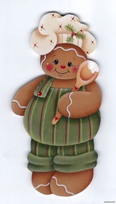 GINGERBREAD Boy Baker - Based on a Renee Mullins design... handpainted by Pamela House