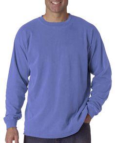 Comfort Colors Garment-Dyed Long Sleeve T-Shirt, L, Flo Blue.