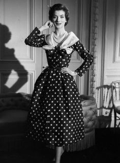 https://flic.kr/p/8QyYDP | 1955 | Polka dot dress with muslin shawl collar.  Photographed by Nina Leen.  -LIFE photo archive