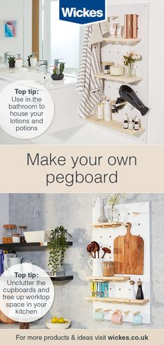 Build your own peg board storage - Ideas & Advice Diy Home Crafts, Diy Home Decor, Diy Furniture, Home Improvement, New Homes, Interior Design, Simple, Narrowboat, Organisers
