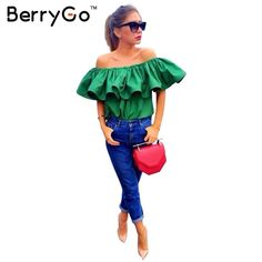 BerryGo Top Quality Sexy off shoulder women blouse shirt Summer crop tops slash neck ruffle party tees Girls beach tube top