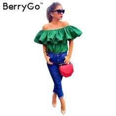 BerryGo Top Quality Sexy off shoulder women blouse shirt Summer crop tops slash neck ruffle party tees Girls beach tube top