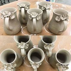 Have you seen the fantastic mugs that our apprentice Jesi of makes? These delicate are so sweet! Hand Built Pottery, Thrown Pottery, Slab Pottery, Pottery Mugs, Ceramic Pottery, Ceramic Studio, Ceramic Clay, Clay Mugs, Pottery Techniques