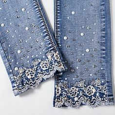 New 2018 Women Fashion Diamond Jeans Casual Denim Pants Woman Skinny Trousers Elastic Pencil Pants Lace Jeans Diy Jeans, Jeans Refashion, Jeans Denim, Kleidung Design, Diy Kleidung, Bling Jeans, Denim And Lace, Denim And Diamonds, Painted Jeans