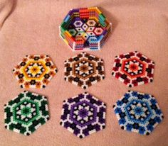 Hexagon Coaster Set perler beads by MeltyCreations