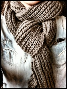 "Winters are more fun with ""Life on Mars"" hand knitted scarves  - ""graphite"" colored hand knitted cotton scarf"