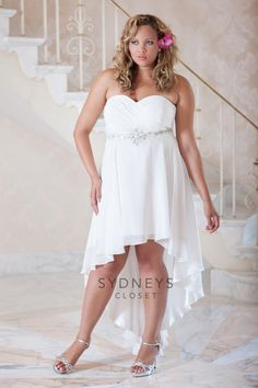 Plus Size Chiffon High Low Informal Wedding Gown With Strapless Sweetheart Neckline And Pleated Bodice
