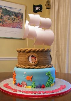 Jake & the Neverland Pirates Cake - just do top layer with sails.looks like this could also easily be changed to be an ECU Pirate cake! Jake Cake, Aniversario Peppa Pig, Pirate Birthday Cake, Party Fiesta, Mom Cake, Gateaux Cake, 4th Birthday Parties, Birthday Ideas, 3rd Birthday