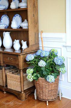 Hydrangea in French Market Basket! via Housepitality Designs French Cottage Style, French Country Style, French Decor, French Country Decorating, Luxury Home Decor, Cheap Home Decor, French Baskets, Market Baskets, Basket Decoration