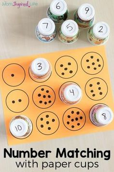 Counting and number matching with paper cups. A fun math activity for preschool. by edna