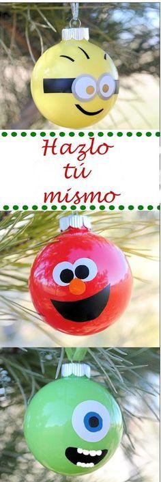 Visita el post para ver ideas para decorar de bolas de Navidad tu árbol. Estas bolas de Navidad nos han enamorado. ¡Son muy originales! Para más pins como éste visita nuestro board. ¡Ah! > No te olvides de repinearlo si te gustó! #bolasdenavidad #navidad #bolas #adornosdenavidad