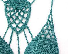 Crochet Bikini Top, Lace crochet bikini bra, Yoga crochet top, Halter top, Boho bikini top in mos green from MarryG on Etsy. Saved to My creations. Crochet Vintage, Diy Crochet, Crochet Socks, Lace Knitting, Knitting Patterns, Crochet Patterns, Knitting Ideas, Haut Bikini, Bikini Tops