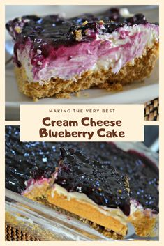 healthy snacks - Easy Recipe Cream Cheese Blueberry Cake For Desserts Blueberry Desserts, Blueberry Cake, Cheesecake Desserts, Just Desserts, Sweets Recipes, Brownie Recipes, Chocolate Recipes, Baking Recipes, Bread Recipes