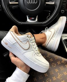 Nike Air Force - White Sneakers Lace up sneakers / sneaker inspo / platform sneakers / car inspo / Louis Vuitton bag / bike sneakers White Nike Shoes, White Nikes, White Sneakers, Basket Nike Air, Baskets Nike, Nike Shoes Air Force, Nike Air Force 1 Outfit, Nike Air Force Low, Sneakers Fashion
