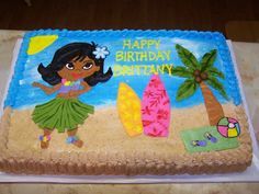Hula Girl Luau All buttercream except the tree leaves and the hula skirt.