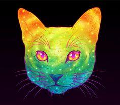 Gatos galácticos: Ilustraciones psicodélicas combinan a los gatos con el espacio - POP-PICTURE