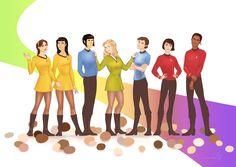 "Where no man has gone before! "" Navigator Polina Chekova Helmsman Hikaru Sulu First Officer Spock Captain Jane T. Kirk (the T is for Titania) Chief Medical Officer Lena ""Bones"" McCoy Chief Engineer Mackenzie ""Scottie"" Scott Communications Officer. Star Trek Original, Star Trek Beyond, Star Trek Tos, Star Wars, Hikaru Sulu, Star Trek Characters, Rule 63, Starship Enterprise, Star Trek Universe"