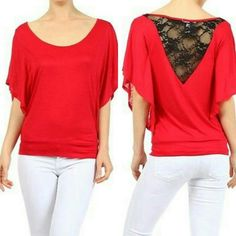 Lace Back Flutter Sleeve Top Jersey Knit, Round Neck, Flutter Sleeve Top With a Lace Back Panel  This is NWOT Retail. Price Firm Unless Bundled. Measurements available upon request. Tops Tees - Short Sleeve