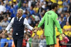 Sweden's coach Erik Hamren (L) and Sweden's goalkeeper Andreas Isaksson react after the Euro 2016 group E football match between Italy and Sweden at the Stadium Municipal in Toulouse on June 17, 2016. .Italy won the match 1-0. / AFP / JONATHAN NACKSTRAND
