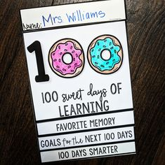Celebrate the 100th Day of school with this fun flip book!! 100 Sweet Days of Learning!  Included:  Cover and front page Favorite Memory of the first 100 days Goals for the next 100 days 100 Days Smarter - What have you learned?