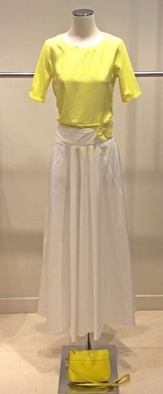MaxMara Weekend cotton and silk blend yellow top and 100% Cotton white skirt | Genuine leather yellow sling bag.  Prices on request.