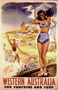 Western Australia For Sunshine and surf (Australia) Vintage travel beach poster ca 1960 - www.araldocosmetica.it/en