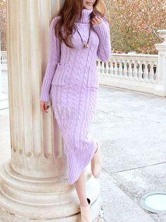 Fashion Turtleneck Long Sleeves Knit Print Wool Dress for Woman - Milanoo.com
