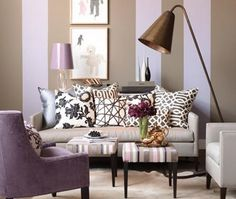I like the mixing/matching of the decorative pillows and the lavender accents.