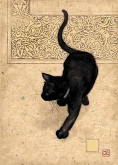 Bug Art Cat Cards and Gifts | Black Cat Blank Greeting Card