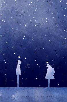 The space between us ! Anime Scenery Wallpaper, Couple Wallpaper, Love Wallpaper, Cute Couple Art, Anime Love Couple, Couple Illustration, Illustration Art, Couple Drawings, Art Drawings