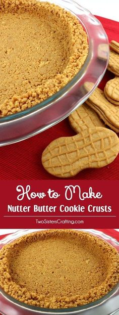 We show you How to Make Nutter Butter Cookie Crusts that are easy to make, can be bake or no-bake & taste better than anything you can buy at the store. No Cook Desserts, Just Desserts, Delicious Desserts, Cheesecake Recipes, Cookie Recipes, Dessert Recipes, Pie Recipes, Cheesecake Pie, Pie Pie
