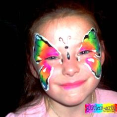 Neon butterfly face painting by Glitter-Arty Face Painting, Bedford, Bedfordshire Butterfly Face Paint, Girl Face Painting, Glitter Face, Henna Artist, Face Art, Girly, Neon, Pretty, Women's