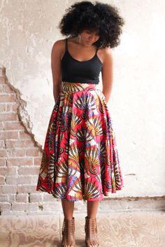 African print midi skirt - The Garden Midi Skirt by ALeapOfStyle on Etsy https://www.etsy.com/listing/226515135/african-print-midi-skirt-the-garden-midi