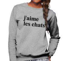 Unisex J'aime Les Chats Sweatshirt French I Love Cats Sweatshirt