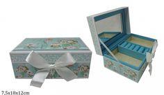 Modrá šperkovnice s kytičkama Decorative Boxes, Home Decor, Decoration Home, Room Decor, Home Interior Design, Decorative Storage Boxes, Home Decoration, Interior Design