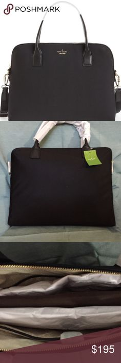 Kate Spade New York 'daveny' 15 black laptop case -Kate Spade New York 'daveny' 15 black laptop case Store your laptop and tech essentials in this slim, lightly padded bag crafted in durable neoprene and trimmed with crosshatched leather. Carry by the top handles, or use the optional crossbody strap for around-town ease. * Top zip closure. * Top carry handles; optional, adjustable crossbody strap. * Interior wall and smartphone pockets; padded laptop compartment with snap closure…