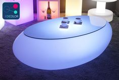 """Table Basse Lumineuse LED Multicolore Sans Fil """"Stone"""" Télécommande, batterie intégrée - Chargeur solaire - Intérieur et extérieur - Livraison Express"""